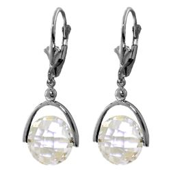 Genuine 7.5 ctw White Topaz Earrings Jewelry 14KT White Gold - REF-43N2R