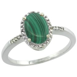 Natural 1.67 ctw Malachite & Diamond Engagement Ring 14K White Gold - REF-22K3R