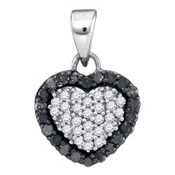 0.33 CTW Black Color Diamond Heart Love Pendant 10KT White Gold - REF-14F9N