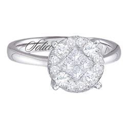 1.51 CTW Princess Diamond Soleil Cluster Bridal Engagement Ring 14KT White Gold - REF-179H9M