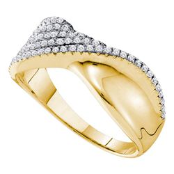 0.38 CTW Diamond Fold Ring 14KT Yellow Gold - REF-59F9N