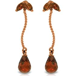 Genuine 3.4 ctw Garnet Earrings Jewelry 14KT Rose Gold - REF-21A6K