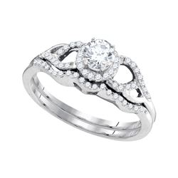 0.38 CTW Diamond Bridal Wedding Engagement Ring 14k White Gold - REF-52K4W