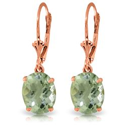 Genuine 6.25 ctw Green Amethyst Earrings Jewelry 14KT Rose Gold - REF-41A2K