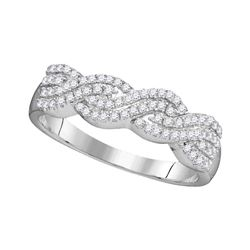0.25 CTW Diamond Four Row Woven Ring 10KT White Gold - REF-20K9W