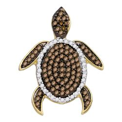 0.35 CTW Cognac-brown Color Diamond Sea Turtle Tortoise Pendant 10KT White Gold - REF-19K4W