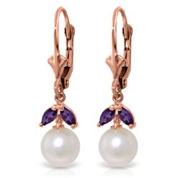 Genuine 4.4 ctw Pearl & Amethyst Earrings Jewelry 14KT Rose Gold - REF-25H3X