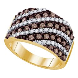 1.3 CTW Cognac-brown Color Diamond Ring 10KT Yellow Gold - REF-87Y2X