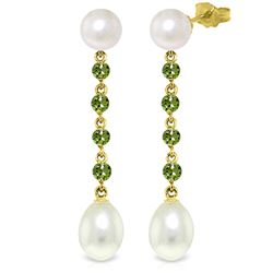 Genuine 11 ctw Pearl & Peridot Earrings Jewelry 14KT Yellow Gold - REF-28R8P