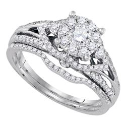 0.75 CTW Diamond Cluster Bridal Engagement Ring 14KT White Gold - REF-112K5W