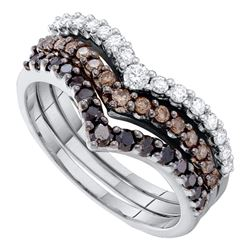 1 CTW Black Color Diamond Chevron Stackable 3-piece Ring 14KT White Gold - REF-79K4W
