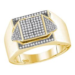 0.35 CTW Mens Diamond Square Cluster Ring 10KT Yellow Gold - REF-44F9N