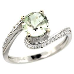Natural 0.99 ctw green-amethyst & Diamond Engagement Ring 14K White Gold - REF-52Y2X