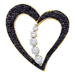 0.49 CTW Black Color Diamond Heart Journey Pendant 10KT Yellow Gold - REF-32N9F