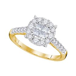 0.75 CTW Princess Diamond Soleil Cluster Bridal Engagement Ring 14KT Yellow Gold - REF-75H2M