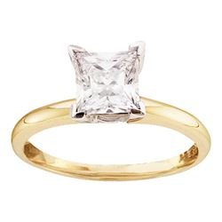 0.47 CTW Princess Diamond Solitaire Bridal Engagement Ring 14KT Yellow Gold - REF-112M5H