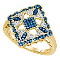 0.25 CTW Blue Color Diamond Square Cluster Ring 10KT Yellow Gold - REF-30K2W