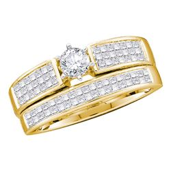 1 CTW Diamond Bridal Wedding Engagement Ring 14KT Yellow Gold - REF-89K9W