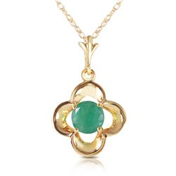 Genuine 0.55 ctw Emerald Necklace Jewelry 14KT Yellow Gold - REF-25H4X