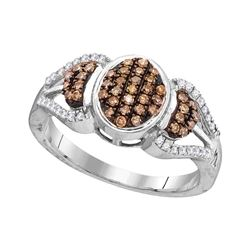 0.33 CTW Cognac-brown Color Diamond Oval Cluster Ring 10KT White Gold - REF-25F4N