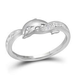 0.03 CTW Diamond Dolphin Ring 10KT White Gold - REF-10N5F