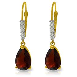Genuine 3.15 ctw Garnet & Diamond Earrings Jewelry 14KT Yellow Gold - REF-44H3X