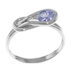 Genuine 0.65 ctw Tanzanite Ring Jewelry 14KT White Gold - REF-52Z7N