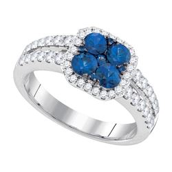 1.33 CTW Blue Sapphire Cluster Diamond Halo Bridal Ring 14KT White Gold - REF-127W4K