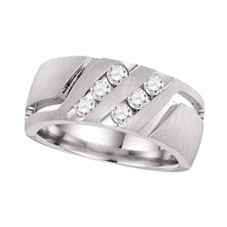 0.50 CTW Mens Diamond Double Two Row Wedding Matte Ring 14KT White Gold - REF-127F4N