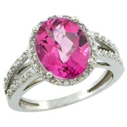 Natural 3.47 ctw Pink-topaz & Diamond Engagement Ring 10K White Gold - REF-34A7V