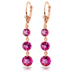 Genuine 7.2 ctw Pink Topaz Earrings Jewelry 14KT Rose Gold - REF-44Y7F