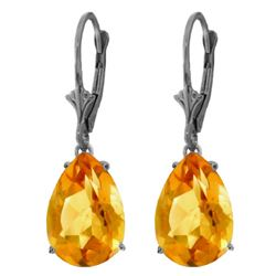Genuine 10 ctw Citrine Earrings Jewelry 14KT White Gold - REF-45T3A