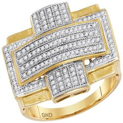 0.50 CTW Mens Diamond Convex Cross Rectangle Cluster Ring 10KT Yellow Gold - REF-67F4N