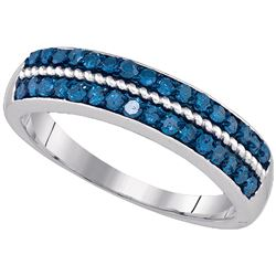 0.50 CTW Blue Color Diamond Ring 10KT White Gold - REF-32K9W
