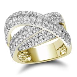 2 CTW Diamond Crossover Fashion Ring 10KT Yellow Gold - REF-194K9W