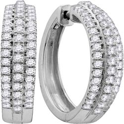 1.02 CTW Diamond Hoop Fashion Earrings 10KT White Gold - REF-75F2N