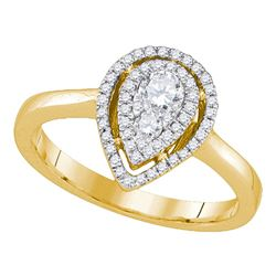 0.39 CTW Diamond Teardrop Cluster Ring 14KT Yellow Gold - REF-67K4W