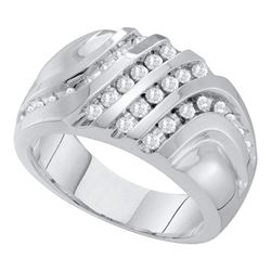 0.50 CTW Mens Diamond Four Row Cluster Ring 10KT White Gold - REF-49H5M