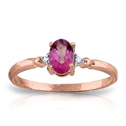 Genuine 0.46 ctw Pink Topaz & Diamond Ring Jewelry 14KT Rose Gold - REF-27H3X