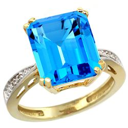 Natural 5.42 ctw Swiss-blue-topaz & Diamond Engagement Ring 14K Yellow Gold - REF-61W9K