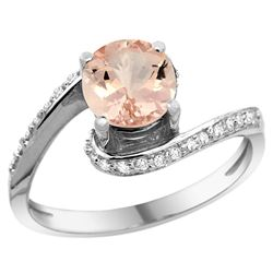 Natural 0.94 ctw morganite & Diamond Engagement Ring 14K White Gold - REF-56G2M