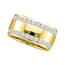 0.50 CTW Diamond Double Row Wedding Ring 14KT Yellow Gold - REF-82M4H