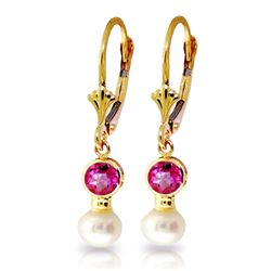 Genuine 2.7 ctw Pink Topaz & Pearl Earrings Jewelry 14KT Yellow Gold - REF-35X9M