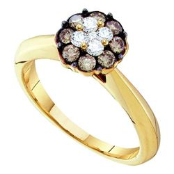 0.51 CTW Cognac-brown Color Diamond Cluster Bridal Ring 14KT Yellow Gold - REF-49X5Y