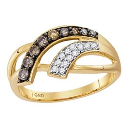 0.33 CTW Cognac-brown Color Diamond Ring 10KT Yellow Gold - REF-30N2F