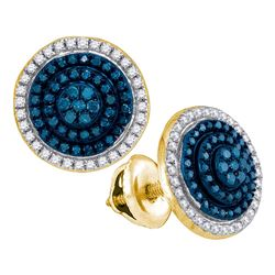 0.55 CTW Blue Color Diamond Cluster Earrings 10KT Yellow Gold - REF-32N9F