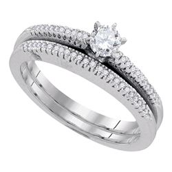 0.33 CTW Diamond Solitaire Bridal Engagement Ring 10KT White Gold - REF-55Y5X