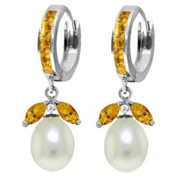 Genuine 10.30 ctw Citrine & Pearl Earrings Jewelry 14KT White Gold - REF-56A7K