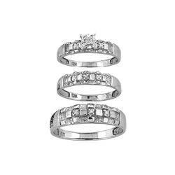 0.14 CTW His & Hers Diamond Solitaire Matching Bridal Ring 10KT White Gold - REF-37N5F