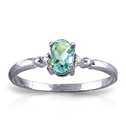 Genuine 0.46 ctw Blue Topaz & Diamond Ring Jewelry 14KT White Gold - REF-27T3A